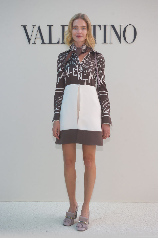 33e5329fde5 Natalia Vodianova wearing a Valentino total look from the Resort 2019  collection to the Valentino Women s Spring Summer 2019 Fashion Show on  September 30th ...